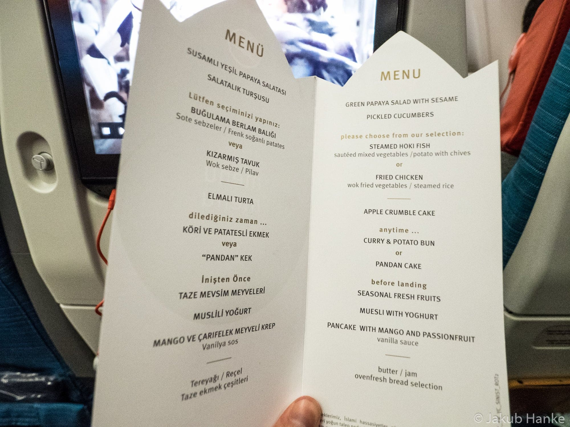 menu of Turkish Airlines