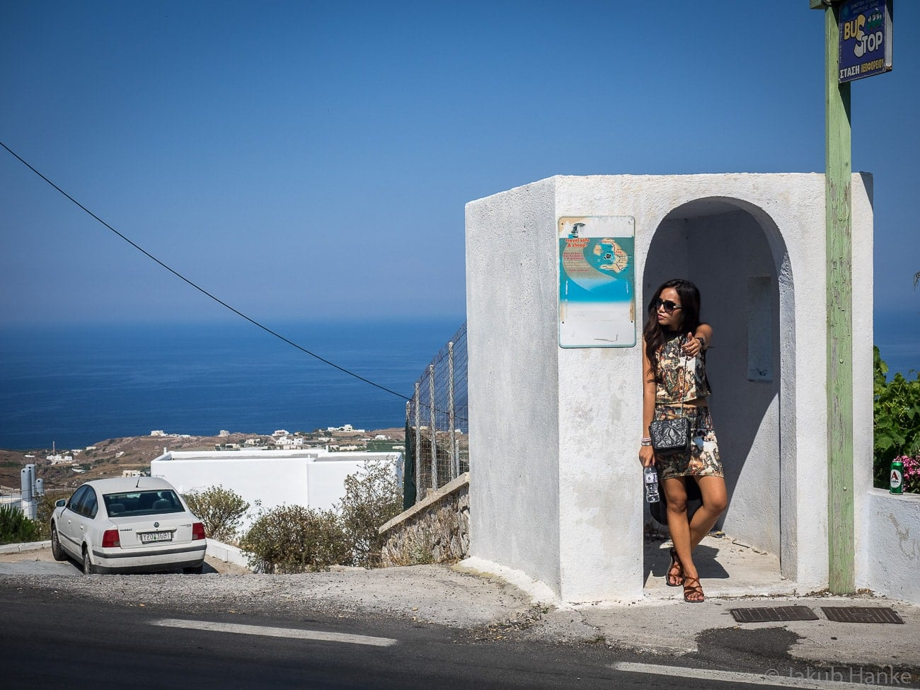 Bus Stop In Santorini